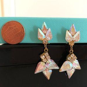 Jewelry - Vintage clip on earrings chandelier rhinestones